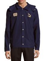 Puma Mens BHM Coaches Hooded Jacket Peacoat Coat Navy Blue Size 2XL XXL Clyde