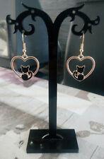 boucles d'oreilles coeur doré chat noir