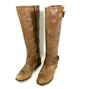 Enzo Angiolini Womens Leather Round toe Zip Up Knee High Boots Brown Size 8 M