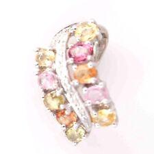 Beautiful Solid 14k White Gold Multi Color Sapphire and Diamond Pendant Slide