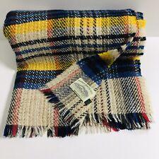 "Vintage Welsh 100% Wool Throw Blanket Abonwen Woollen Mill car blanket 66"" x 43"""