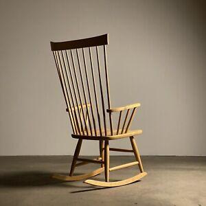 Charles Webb Modernist Spindle Rocking Chair / danish mid century shaker rocker