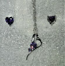 18K White Gold Purple CZ Sloping Heart Necklace & Earrings
