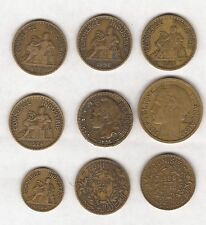 9 FRENCH COINS 1 FRANC / 2 FRANC & 50 CENTIMES - 1921 TO 1939