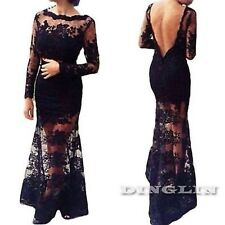 NEW Long Midi Maxi Gown Sheer Cut Out Lace Net Cocktail Black Dress S /M