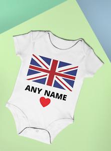 Union Jack Personalised Baby Vest Bodysuit Flag British Baby Gift Idea Any Name