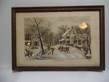 "5""x7"" Vintage Currier and Ives Etching  Hand Colored"