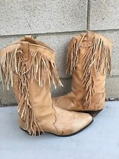 Vintage Dingo Tan Leather Fringe Western Cowgirl Boots - Women's Size 9