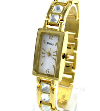 Henley Ladies Goldtone Rectangular Dial Watch Bracelet Strap Big Square Crystals
