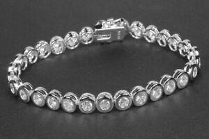 Echtes 925/.Sterlingsilber Zirkonia KlaTennis Armband Massiv Statement Cocktail