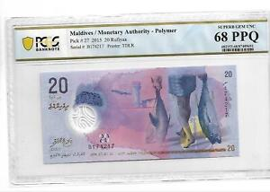 Maldives/Monetary Authority Pick#27 2015 20 Rufiyaa PCGS 68 PPQ