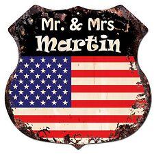 BP0183 America Flag MR. & MRS MARTIN Family Name Sign Home Chic Decor Gift