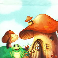 4x Single Table Party Paper Napkins for Decoupage Decopatch Craft Mushroom House