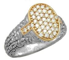 PHILIP ANDRE 14K Gold & Sterling Silver Pave Diamond Ring, size 7