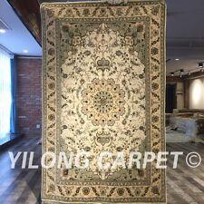 Yilong 4'x6' Porch Handmade Wool Silk Rug Vintage Blanket Woollen Carpets 2083