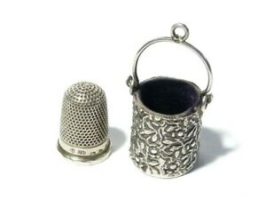 1888 Solid Silver Chatelaine Bucket Shaped Thimble Holder & 1897 Thimble