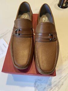 New Salvatore Ferragamo Gancio Brown Pebbled Leather Men Driver Shoes 9.5 $595