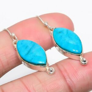 """Magnesite Turquoise 925 Sterling Silver Earring 1.6"""" (170)"""