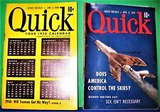 2 Quick News Weekly Jan1950 Calendar April 1951 Jet Plane Men's Pocket Digests
