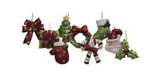 Lot of 9 Mini Christmas Ornaments Glitter NIP Gift Santa Bow Tree Holly Candy