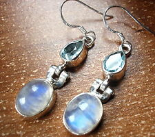 Rainbow Moonstone & Faceted Blue Topaz Earrings 925 Sterling Silver Dangle Oval