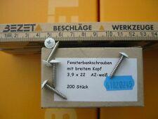 200 Fensterbank Schrauben 3,9X22 A2 Edelstahl weiss mit Scheibe Rostfrei Montage