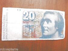 Banconota 20 franchi svizzeri frs fr vingt francs HORACE BENEDICT DE SAUSSURE