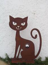 Katze Rost Katze mit Edelstahlkugel 30 mm Edelrost Metall Rost Deko Garten Kugel