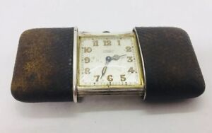Movado Chronometre Antique Sterling Silver & Leather Manual Wind Travel Clock
