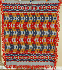 GORGEOUS Vintage 40s Beacon Camp Blanket ~GREAT COLORS & ZIGZAG INDIAN DESIGN!