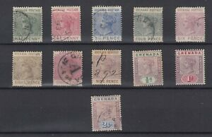 Grenada QV Collection Of 10 Values Fine Used JK5589