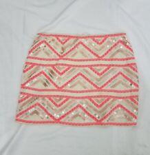 Express Aztec Sequin Mini Skirt Orange Cream XS & M