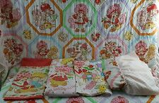 Vtg STRAWBERRY SHORTCAKE American Greetings COMPLETE Twin Bedding & Sheets Set