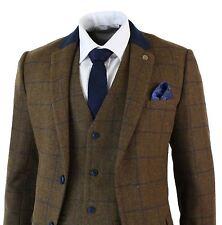 Mens Brown Herringbone Blue Check Tweed Vintage 3 Piece Tailored Fit Suit Smart