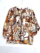 CHICO'S WOMEN GRAPHIC GRAFITI PRINTED HOODIE FULL ZIP SWEATER JACKET 2 (12/14)