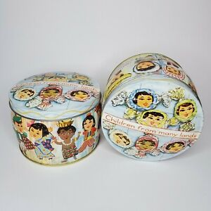 Vintage Decorative Candy Tin Children From Many Lands England Made 1960's