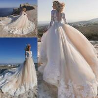 Champagne Ivory Wedding Dresses Bridal Gowns Long Sleeves Button on Zipper Plus
