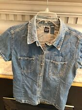 Gap Vintage Denim Short Sleeve Button Up Top L