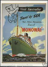 Shipping Advertising Postcard - Union Steam Ship Co - Monowai Cruise DP76