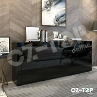 Modern High Gloss Sideboard Buffet Cabinet Storage Wooden 4 Doors Drawers Black