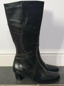 Clarks K Ladies Black Leather Boots Mid Calf Wide Fit Mid Heel UK 6 EU 39