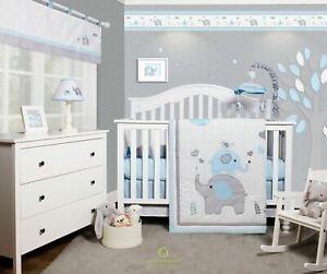 6-Piece Blue Grey Elephant Baby Boy Nursery Crib Bedding Sets By OptimaBaby