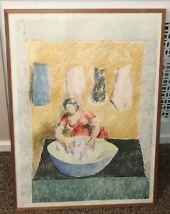 WASHERWOMAN LITHOGRAPH Signed by Ducan Grant Limited Edition 39 / 350