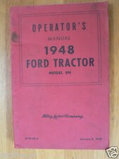 FORD TRAKTOR  MODEL 8N 1948 OPERATORS MANUAL ENGLISH LANGUAGE INCLUDED PLOW