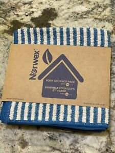 New! Norwex Body And Face Cloths, Set of 3, Teal & Vanilla Stripes, Limited Ed