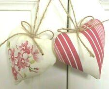 Pair Heart Door Hangers Pink Flowers & Stripes Linen Blend Fabric