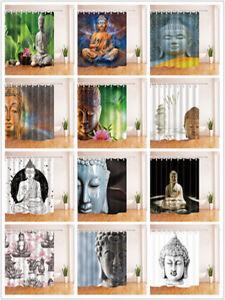 "Zen Buddha Shower Curtain Various Pattern & Hooks Bathroom Waterproof Fabric 70"""