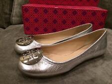 Tory Burch REVA Goat Leather Vulcano Silver Logo Ballerina Ballet Flat Shoes