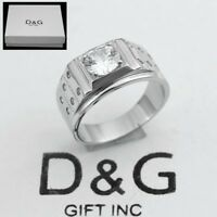 DG Men's 925 Sterling Silver,CZ Eternity Ring Size 8,9 10 11,12 13*Box