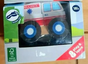 NEW CHILDREN'S WOODEN SMALL FOOT AMBULANCE STACKABLE VEHICLE BRAND NEW SEALED